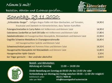 Abhol-Service am Sonntag, 29.11.2020