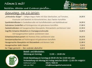 Abhol-Service am Sonntag, 06.12.2020