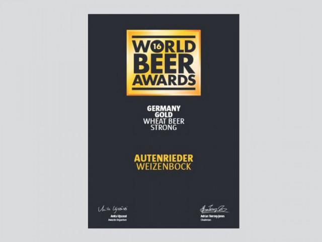 World Beer Award Urkunde Autenrieder Weizen-Bock - Gold