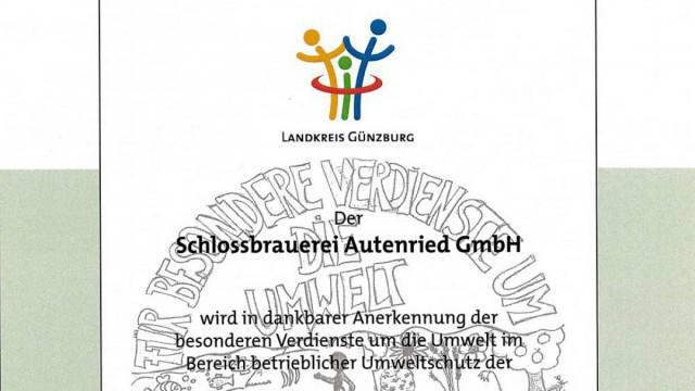 Urkunde Umweltpreis des Landkreis Günzburg