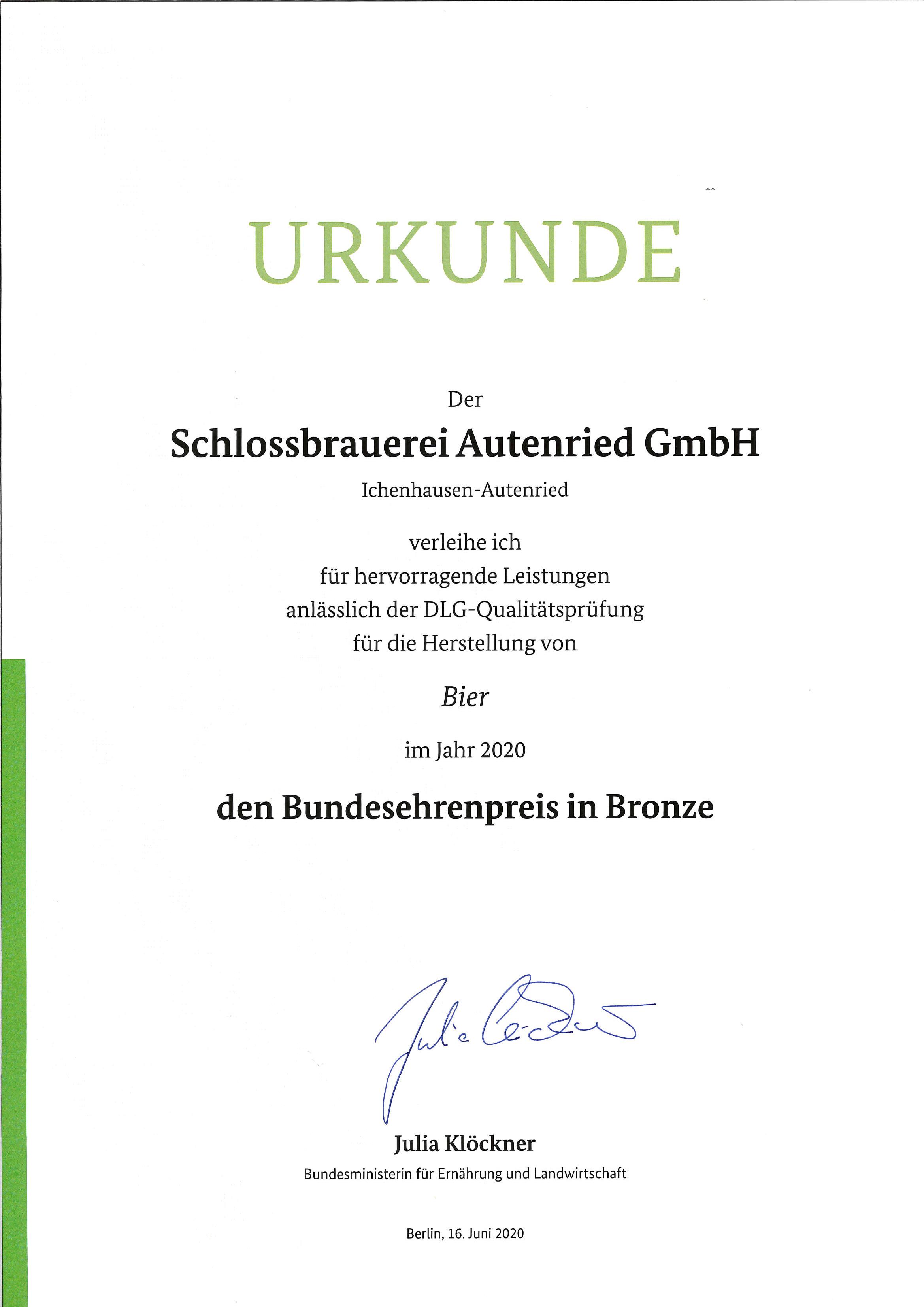 Urkunde Bundesehrenpreis 2020