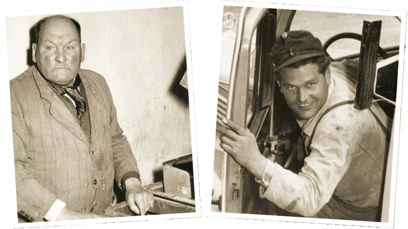 Gründer der Brauerei, Alois Rudolf und Bierfahrer - historisches Bild