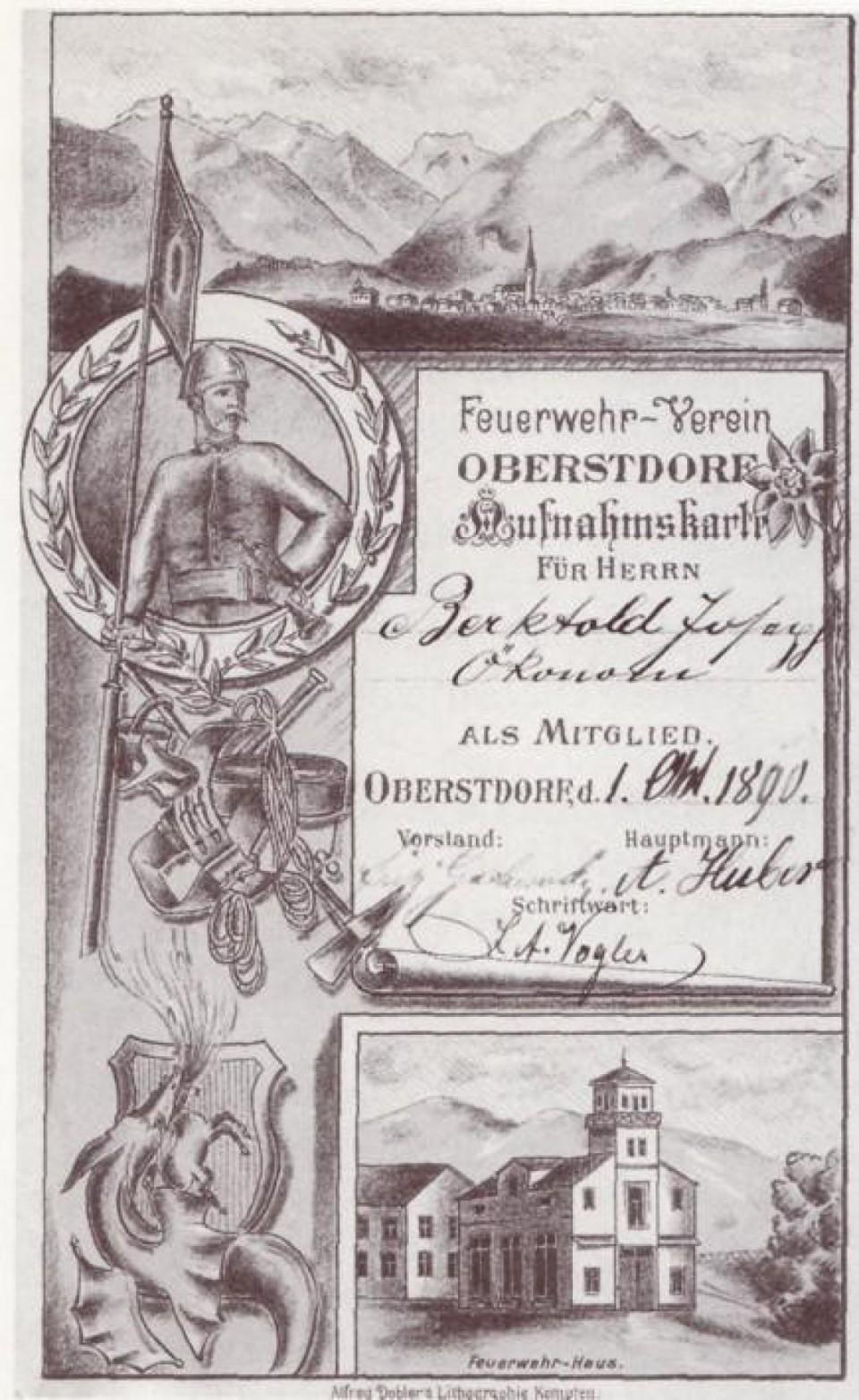 Aufnahmekarte von 1890