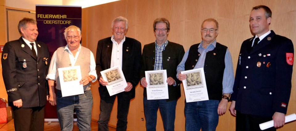 60 Jahre Mitglied bei der FF Oberstdorf v.li: KDT Peter Vogler, Erwin Abler, Martin Dentler, Rudolf Goetzberger, Seraphin Rietzler und Vorstand Hermann Hofmann