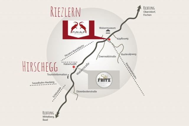 Anfahrt Fun Alp in Riezlern / Kleinwalsertal