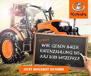 Kubota-Hitzefrei ~ jetzt kaufen und erst im Juli 2019 die erste Rate bezahlen
