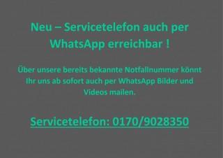 Neu - Servicetelefon auch per WhatsApp erreichbar!