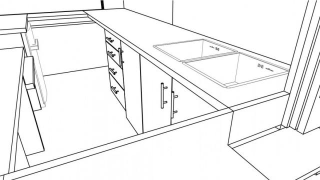 CAD 3D Skizze Innenausbau während Planungsphase