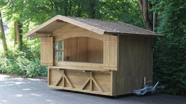 Hütte auf Trailer hydraulisch absenkbar