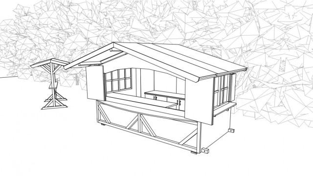 CAD Skizze 3D Verkaufshütte