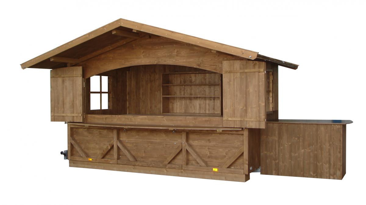 Markthütte auf Anhänger abgesenkt mit Deichselstehtisch