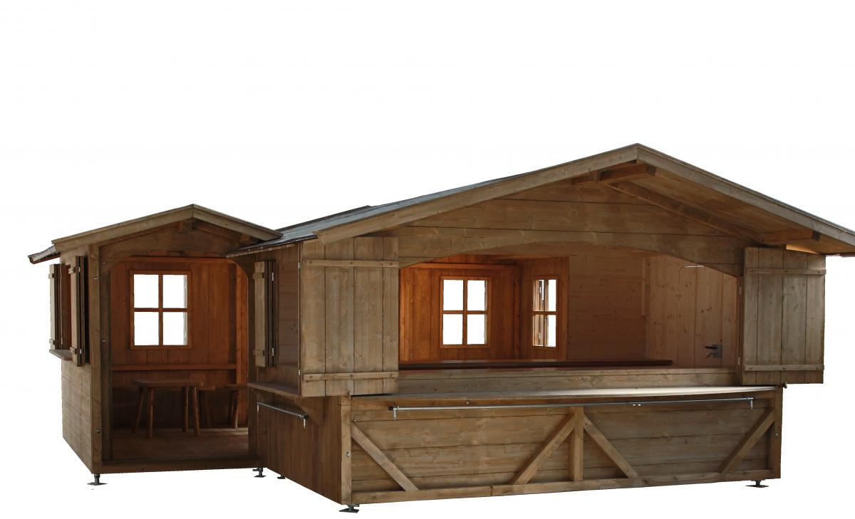 Hütte begehbar Gastraum Verkaufshütte Sitzmöglichkeit