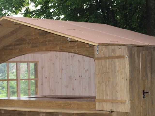 Verkaufshütte Dach Anstrich Altkupfer