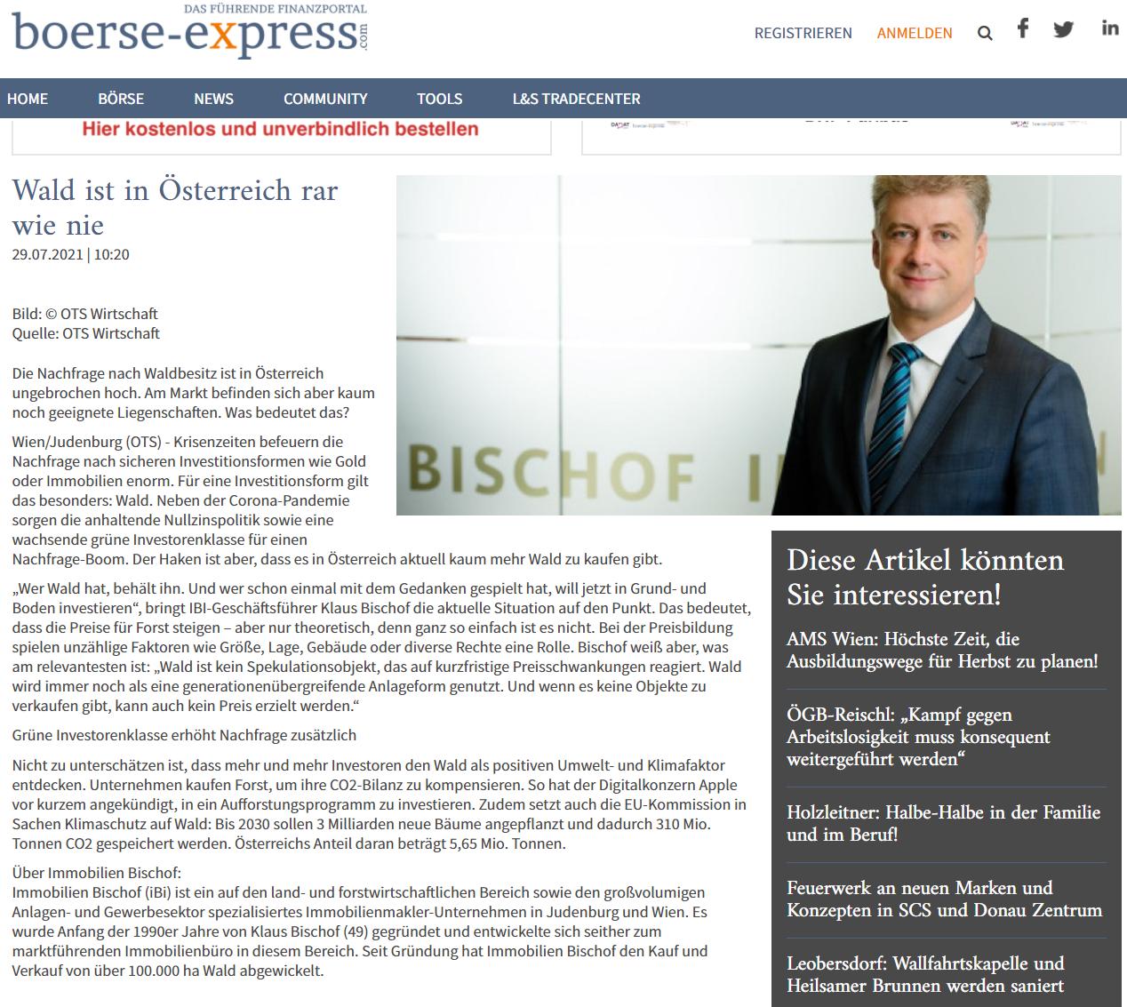 ungebrochen hohe Nachfrage nach Waldbesitz - Artikel im Börse-Express vom 29.7.2021