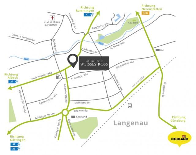 Lage unseres Hotels Autobahn A7 & A8 und Nähe Legoland Deutschland