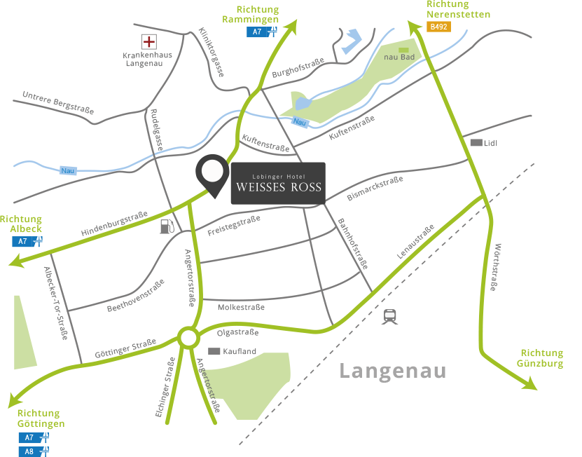 Anfahrt zum Lobinger Hotel Weisses Ross und Lage der Sehenswürdigkeiten in der Nähe