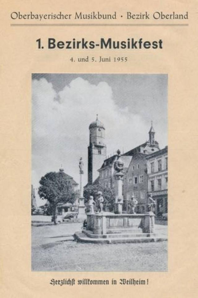 1955 Ankündigung Bezirksmusikfest