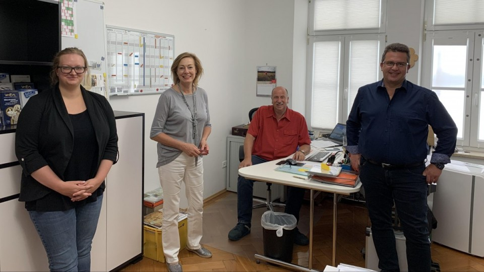 Das Team der Geschäftsstelle: Julia Strasser, Angelika Müller, Max Kriesmair, Andreas Horber (v.l.n.r.)