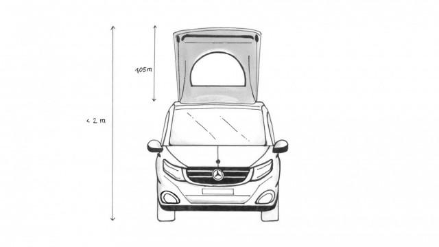 Frontansicht, Mercedes V-Klasse mit Aufstelldach