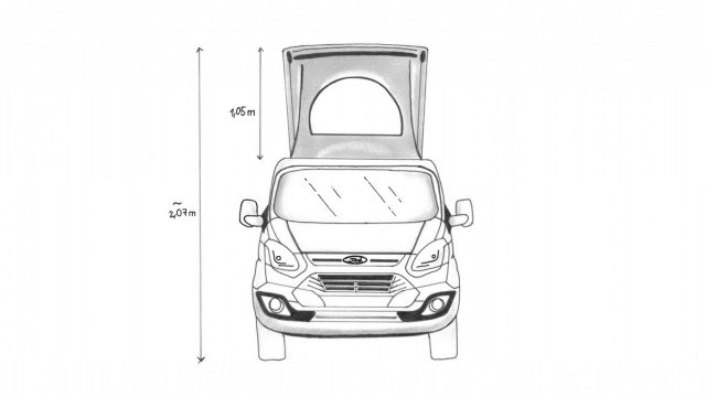 Frontansicht, Ford Transit Custom mit Aufstelldach