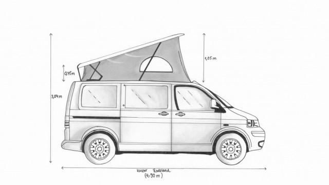 Seitenansicht, VW T6 mit Aufstelldach