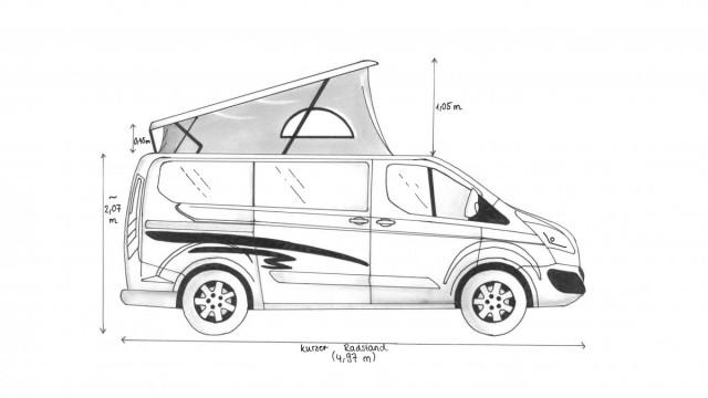 Seitenansicht, Ford Transit Custom mit Aufstelldach