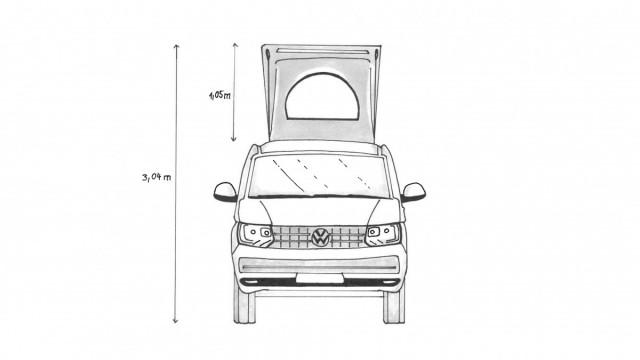 Frontansicht, VW T6 mit Aufstelldach