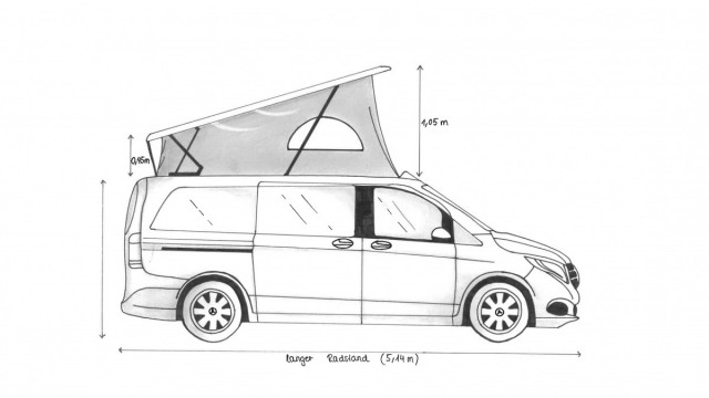 Seitenansicht, Mercedes V-Klasse mit Aufstelldach
