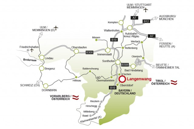 Anfahrtsskizze nach Langenwang
